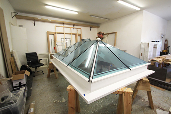 The Dtq designs team working on some bespoke roof lanterns.