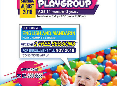 Exclusive Playgroup Offer - Receive 2 Free Sessions (Till Jun 2019)