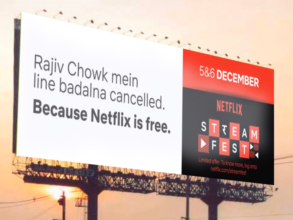 Translation: Changing trains at Rajiv Chowk is cancelled. Because Netflix is free.