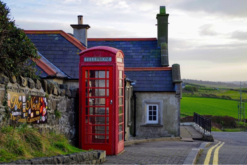 English pub, red telephone box, cottage