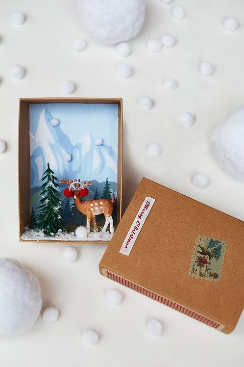 Reindeer Winter Scene Christmas Decoration