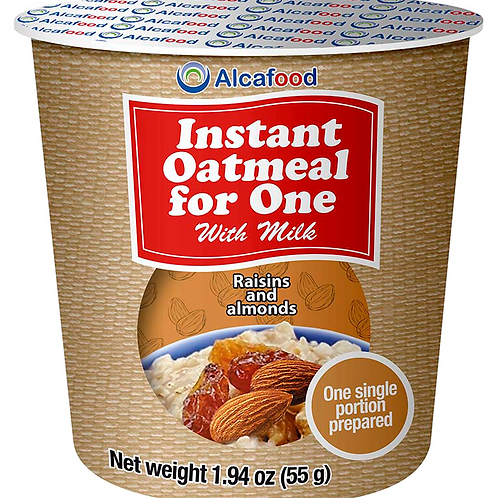 Instant Oatmeal for One - Raisins and almonds 1.94 Oz x 36