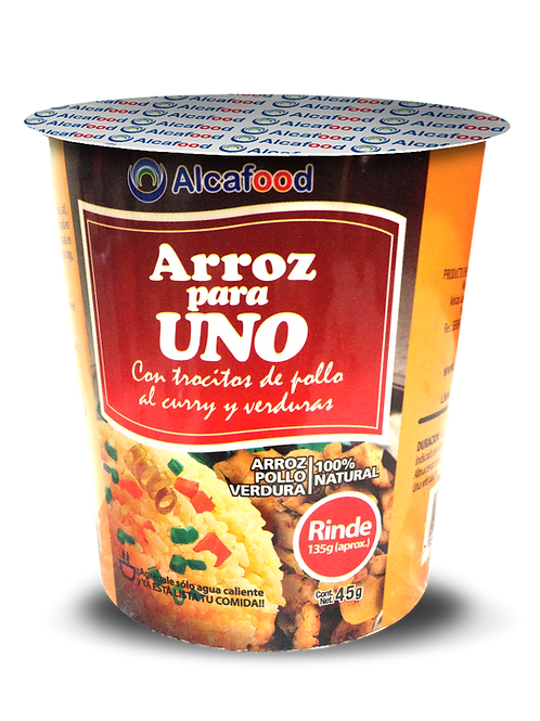 Arroz para Uno Con trocitos de pollo al curry y verduras