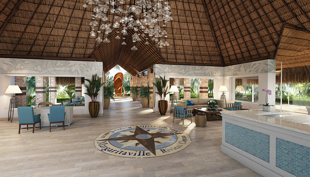 Rendering of the lobby for Margaritaville Island Reserve Riviera Cancun