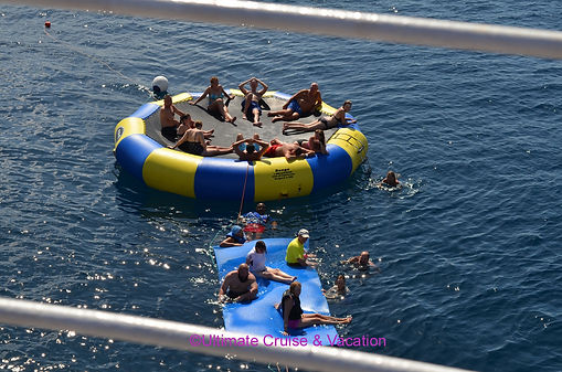Trampoline and float off the Wind Surf  Watersports Platform