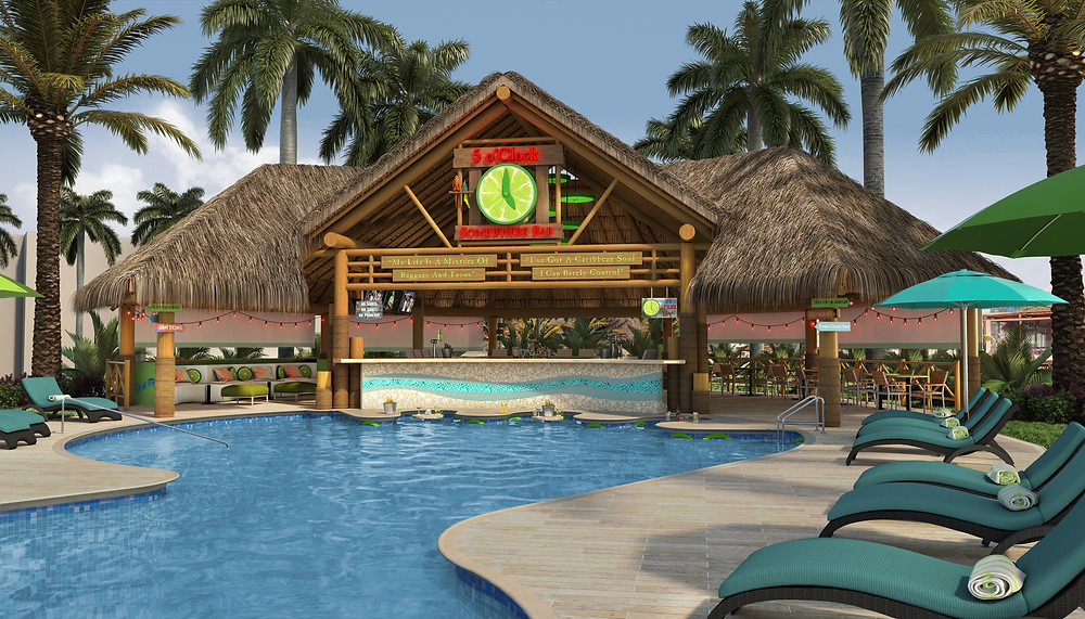 "5 O""Clock somewhere Bar rendering for Margaritaville Island Reserve Riviera Cancun, the first all inclusive Margaritaville anywhere."