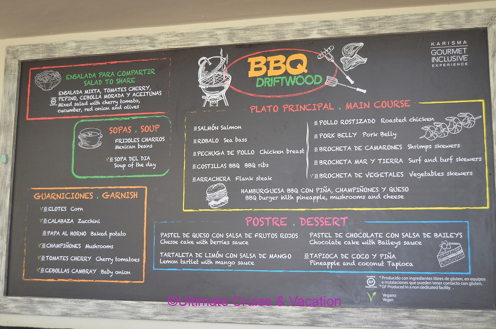 Amazing lunch menu at Tradewinds, El Dorado Seaside Suites