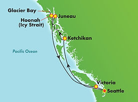 Norwegian Bliss Alaska itinerary map