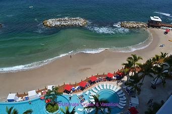 Part of the beach and pool at Grand Fiesta Americana Puerto Vallarta