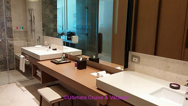 The spacious bathrooms at Hyatt Ziva Cancun