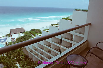 Oceanfrnt Room balcony view at Live Aqua Cancun