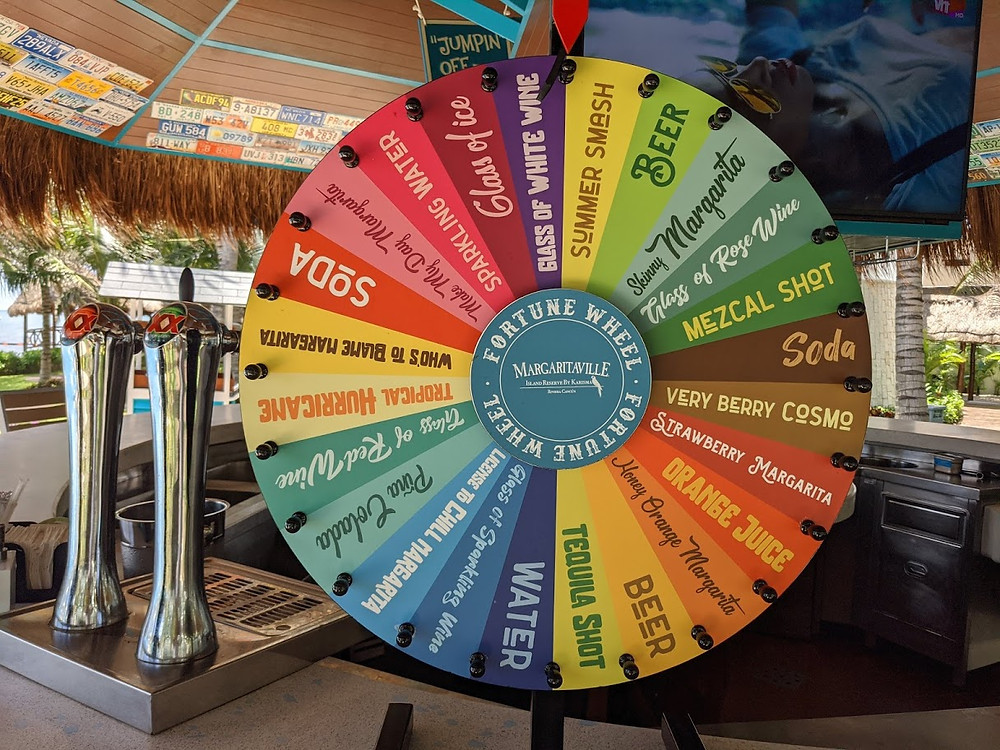 Drink spinning wheel at Margaritaville Island Reserve Riviera Cancun.