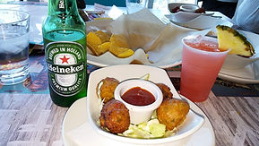 Conch Fritters & cold drinks at Margarit