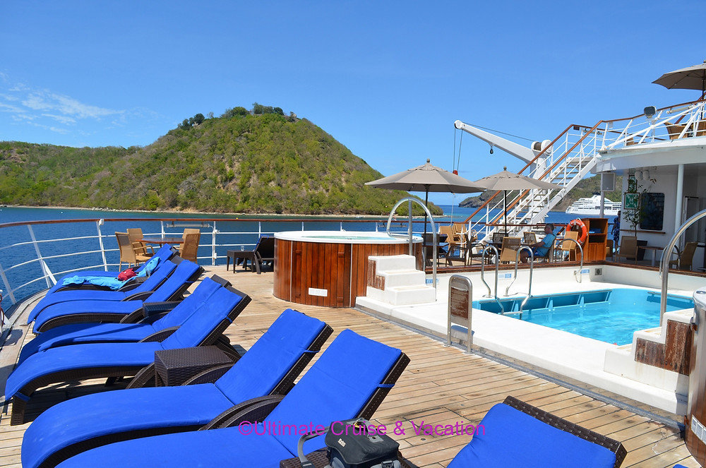 No crowds but plenty of common deck space on Windstar Cruises