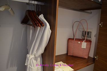 Closet with robes and bag to use during your stay.