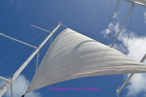 Billowing sail on a Windstar Cruise