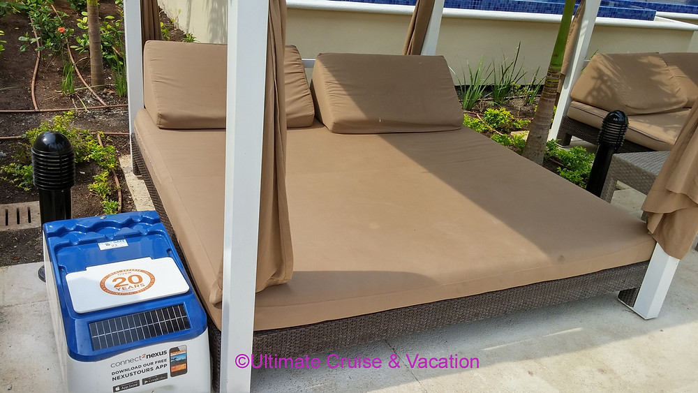 Diamond Club lounger with cooler and USB ports, Royalton Riviera Cancun.