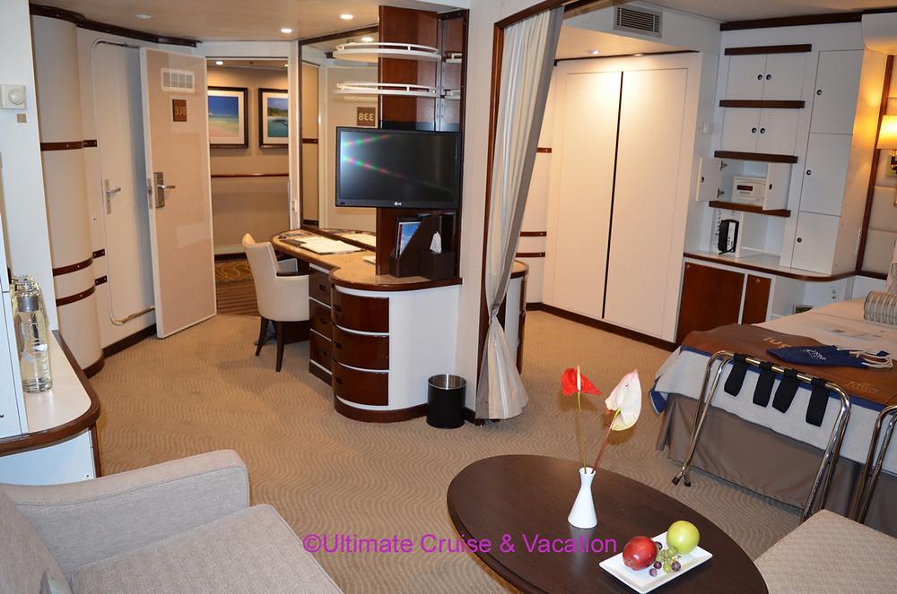 Suite interior for Windstar Cruises.