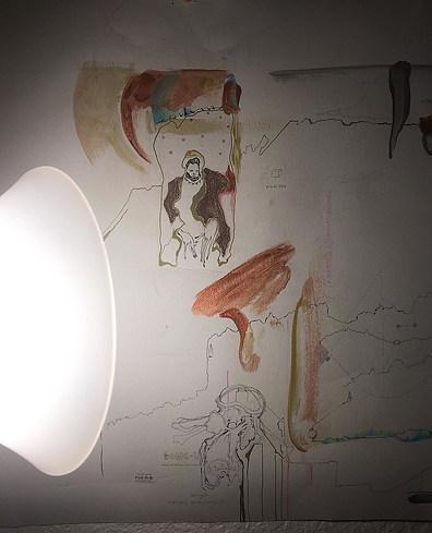 wood paint, pencil, pen, on paper