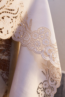 White altar cloth with embroideries