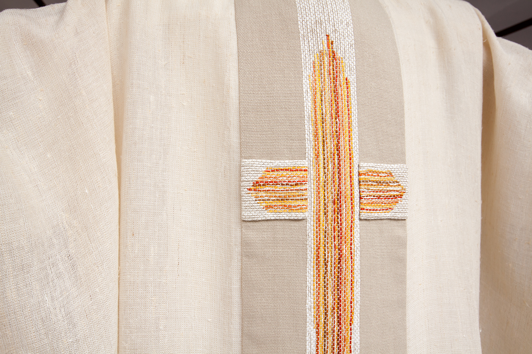 Hand embroidered cross on chasuble
