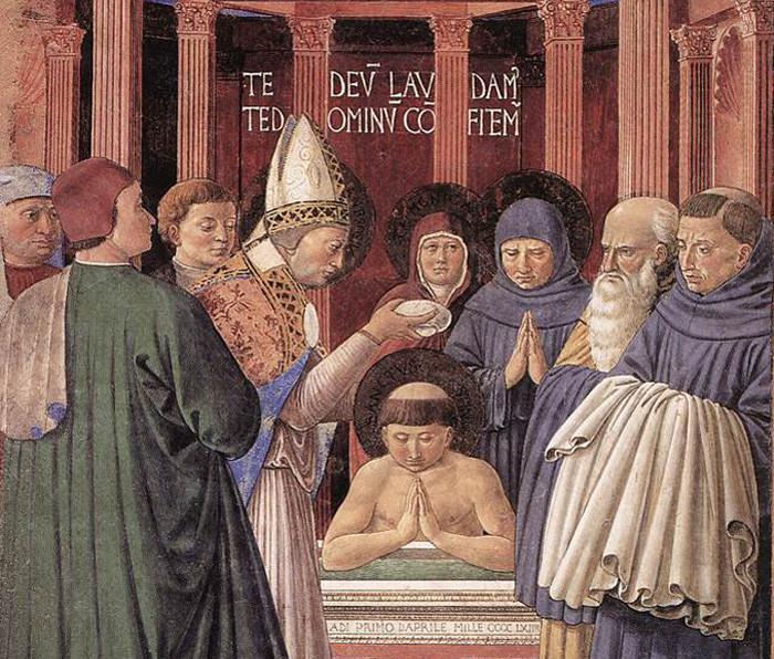Battesimo di Sant'Agostino, Chiesa di Sant'Agostino, Cappella del Coro, San Gimignano.