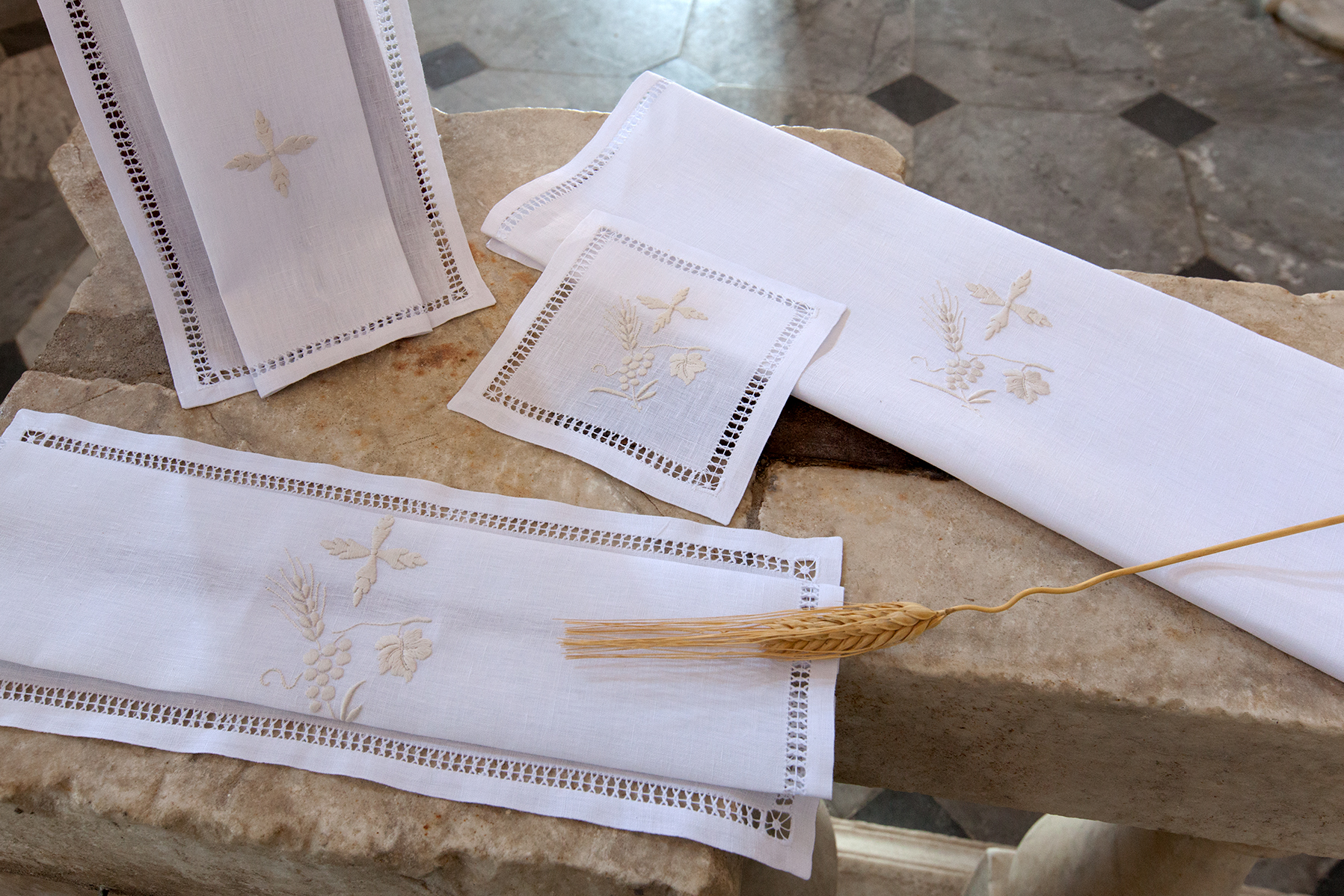 White Altar linens for church