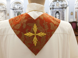 Italian red priest stole in damask