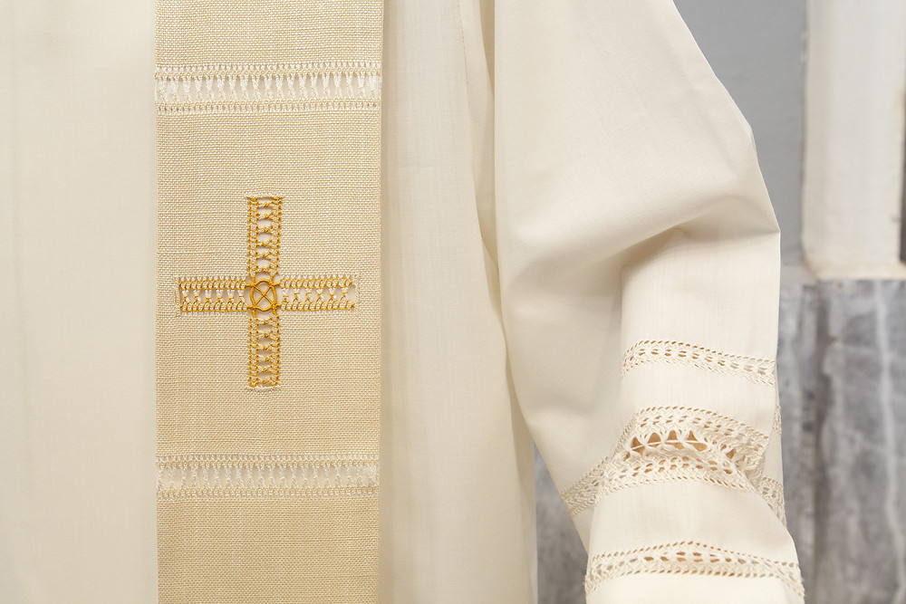 Stola sacerdotale bianca a gigliuccio