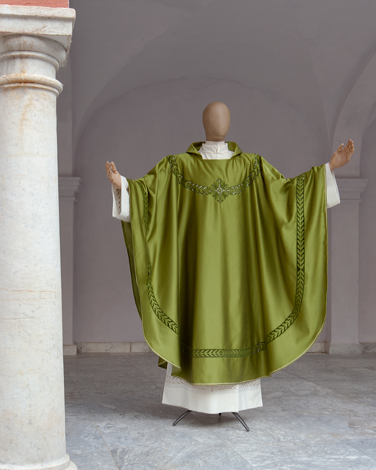 Green silk solemn chasuble