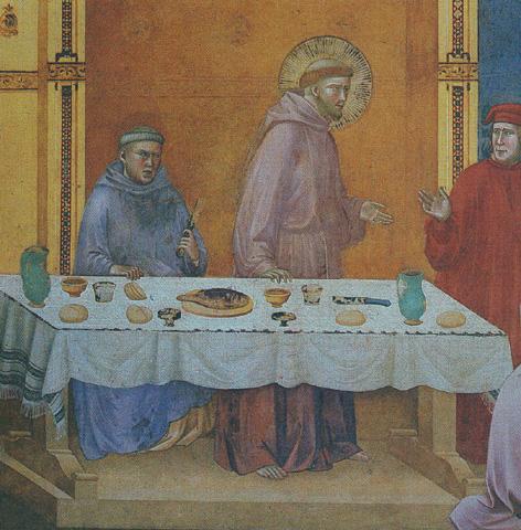 Pittura raffigurante un esempio di tovaglia perugina utilizzata come tovaglia d'altare. Custodita nella Basilica di Assisi
