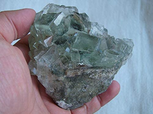 Gemquartz Ham6505 Green Glassy Fluorite Crystals in Matrix Large