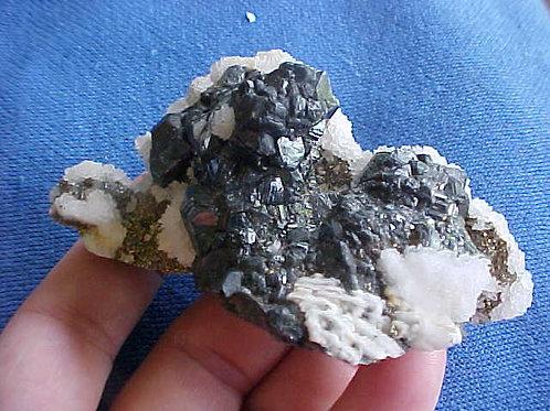 D1004 GemQz Tetrahedrite Calcite Chalcopyrite Huaron Peru