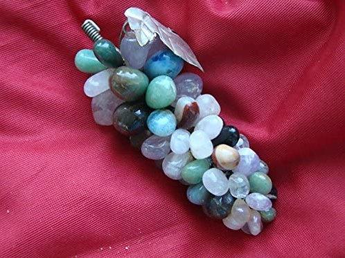 Gemquartz Ham6307 Multicolor Natural Stones Grapes with Silver Leaf