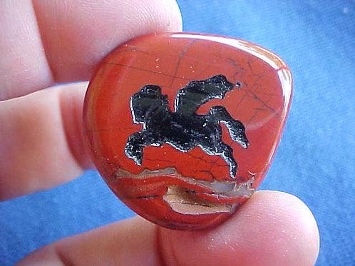 D0213 GemQz Pegasus Engraved in Poppy JASPER Flat Stone !!