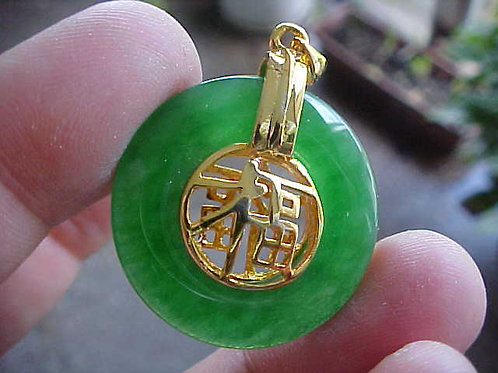 D0720 GemQz Feng Shui in Round Green Jade Charm Beauty !!!