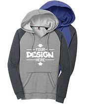 District DT296 Women's Raglan Hoodie Sweatshirt