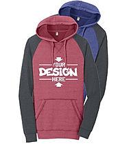 District DT196 Raglan Hoodie Sweatshirt