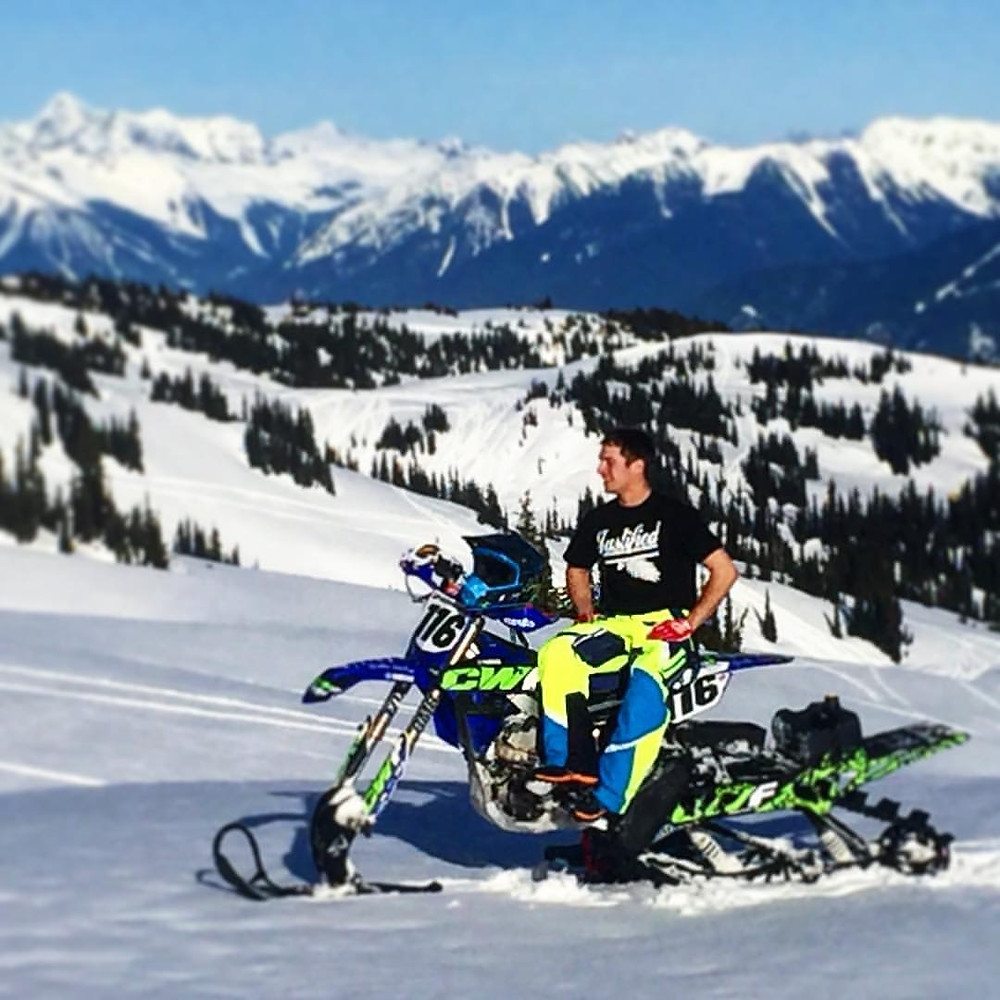 Taking in a view on YZ450 Snowbike