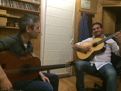 Flamenco guitarists Nat Hulskamp and Diego del Morao during a recording session in Jerez, Spain