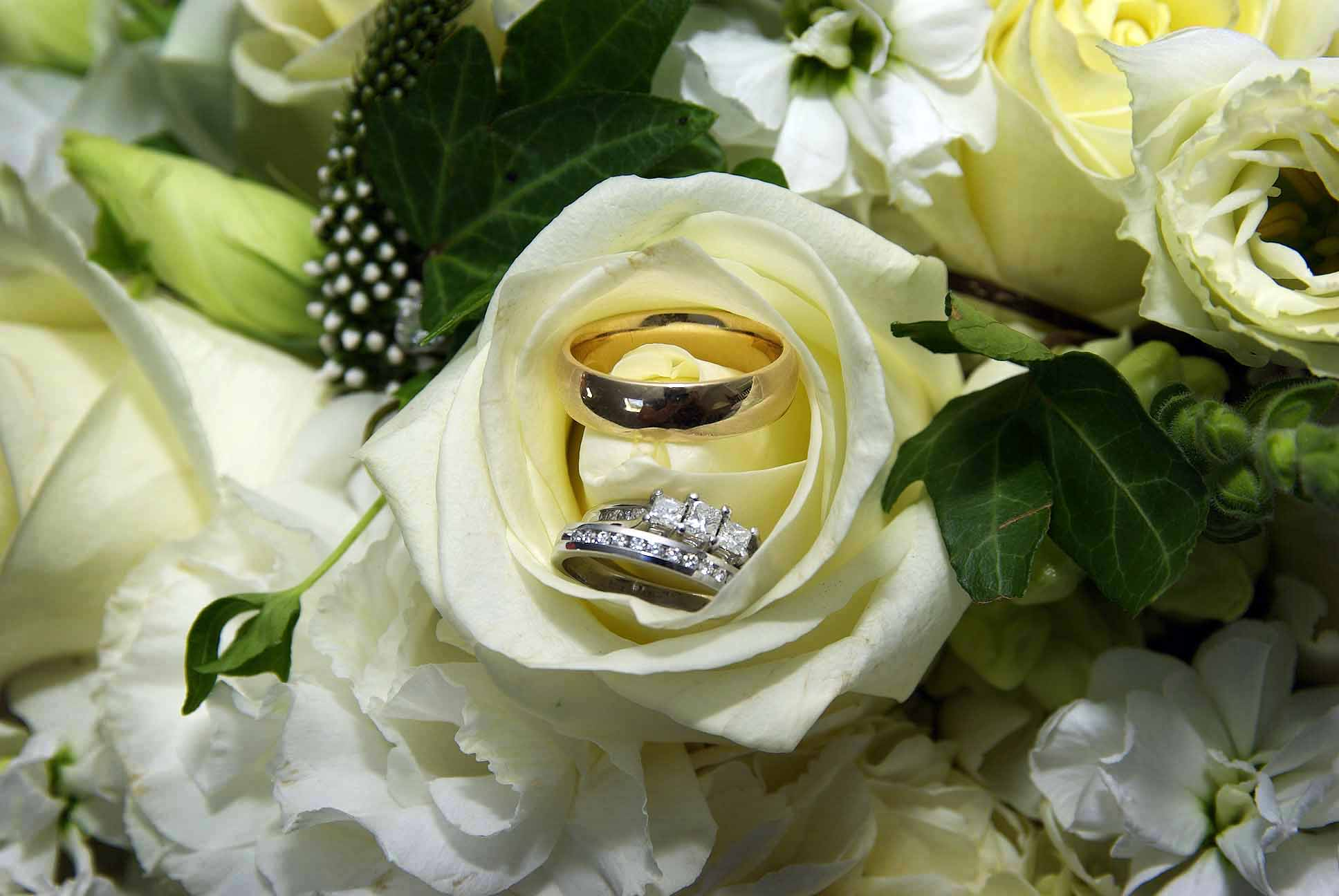 White Rose Wedding Rings