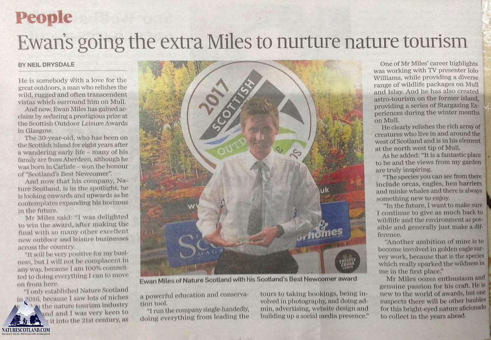 nature scotland, awards, mull, isle of mull, ewan miles,