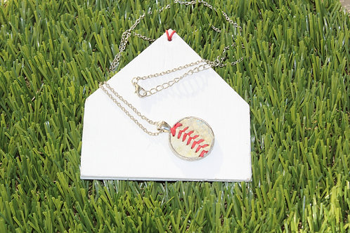 18″ – 20″ Adjustable Chain – Silver with 1″ Baseball Leather Pendant