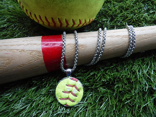 """Box Chain Necklace 20"""" with 1"""" Softball leather pendant"""