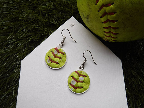 "Softball Leather Earrings - 3/4""to"