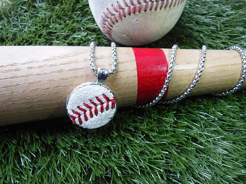 "Bead Chain Necklace 22"" with 1"" Baseball leather Pendant"