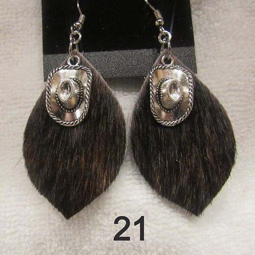 Genuine Hair on Cowhide Leather Earrings