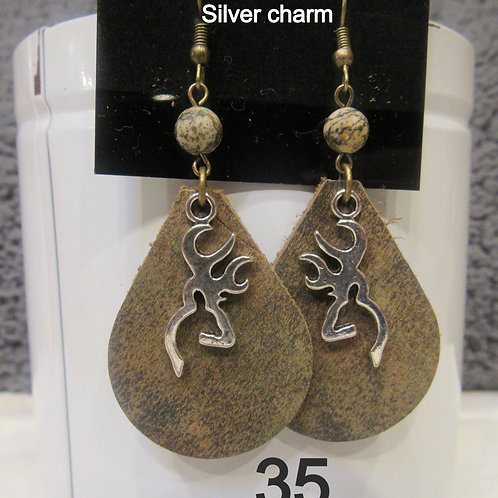 Genuine Cowhide Leather Earrings (Camo)