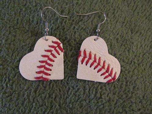 Heart Baseball Leather Earrings
