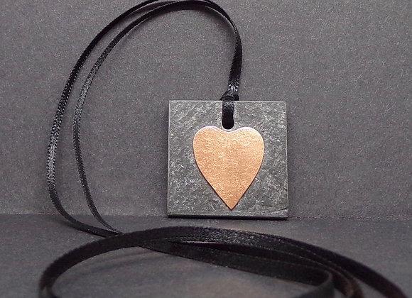 Slate and copper pendant